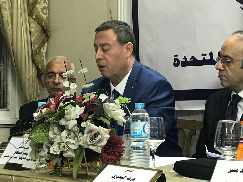 السفير دياب اللوح يشارك في إحياء يوم التضامن مع الشعب الفلسطيني بالجمعية المصرية للأمم المتحدة